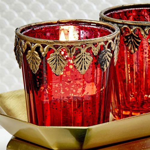Red and Gold Candle Holder Favor Gift for Party Guests